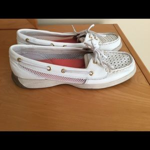 Sperry white leather moccasin , mesh sides.
